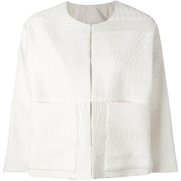 Erika Cavallini Boxy Jacquard Jacket (£260) ❤ liked on Polyvore featuring outerwear, jackets, boxy jacket, cream jacket, white jacket and jacquard jacket