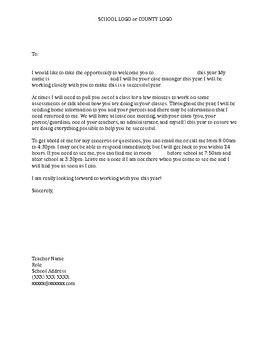 Special Education Case Manager Introduction Letter And Student
