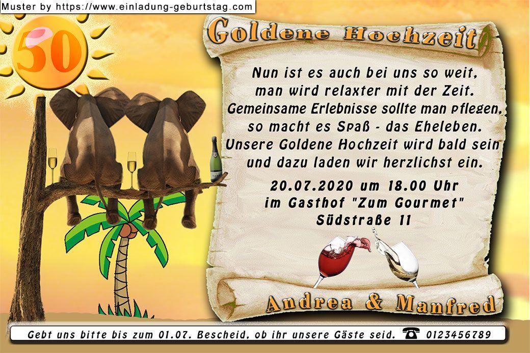 Die lustige Einladungskarte zur Goldenen Hochzeit mit der
