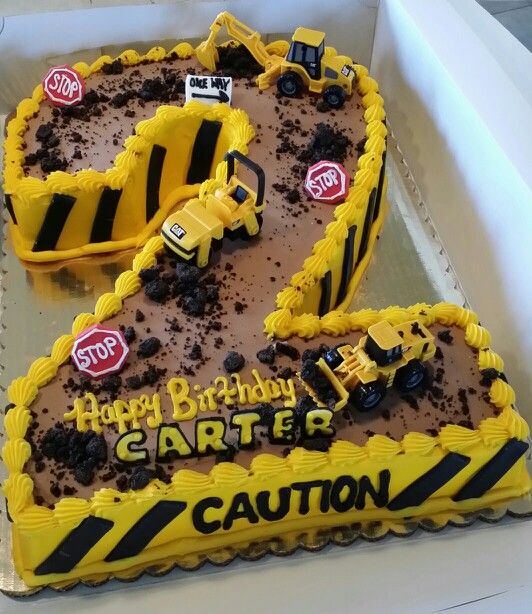 Construction cake idea using a number One Construction Cakes