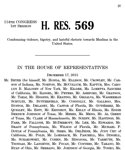 H Res 569 Condemning violence, bigotry, and hateful rhetoric towards Muslims in the United States. (sharia law)