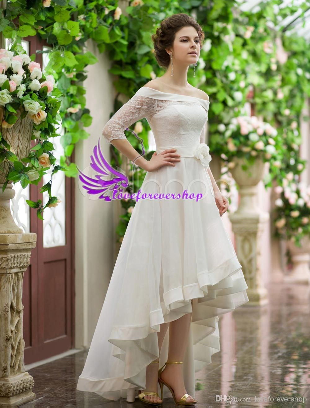 lace sheer wedding dress aline bateau high neck long sleeve