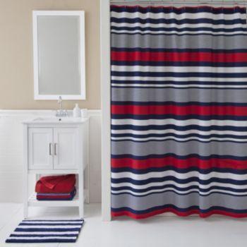izod navy stripe shower curtain