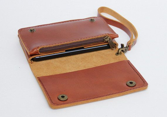 Leather iPhone wallet case with mini zipper in door BluePetalz