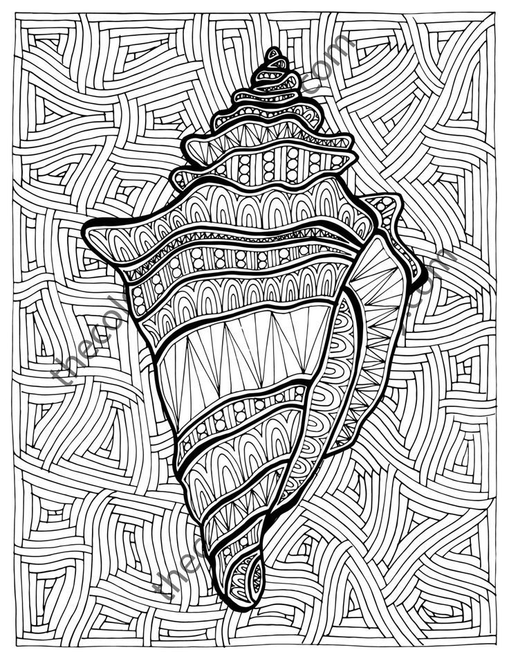 Zentangle Shell Adult Coloring Page By TheColoringAddict