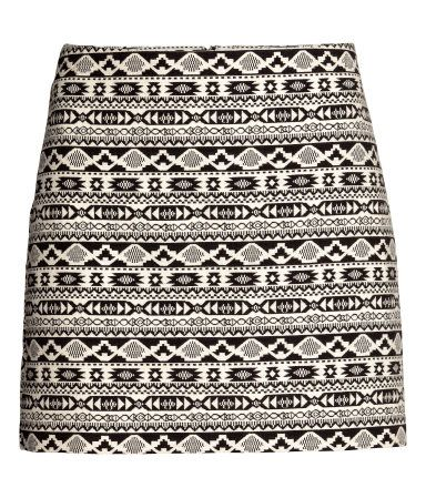 299faa448 Short jacquard-weave mini skirt in black and white. | H&M Divided ...