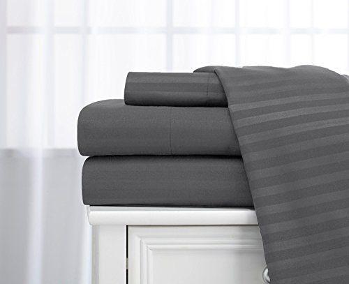 Queen Size Charcoalstone Classic Sateen Dobby Stripe Sheet