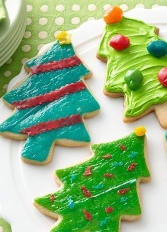 Retro Tinsel Christmas Tree Cookies Recipe Christmas Tree Cookies Cool Christmas Trees Tree Cookies