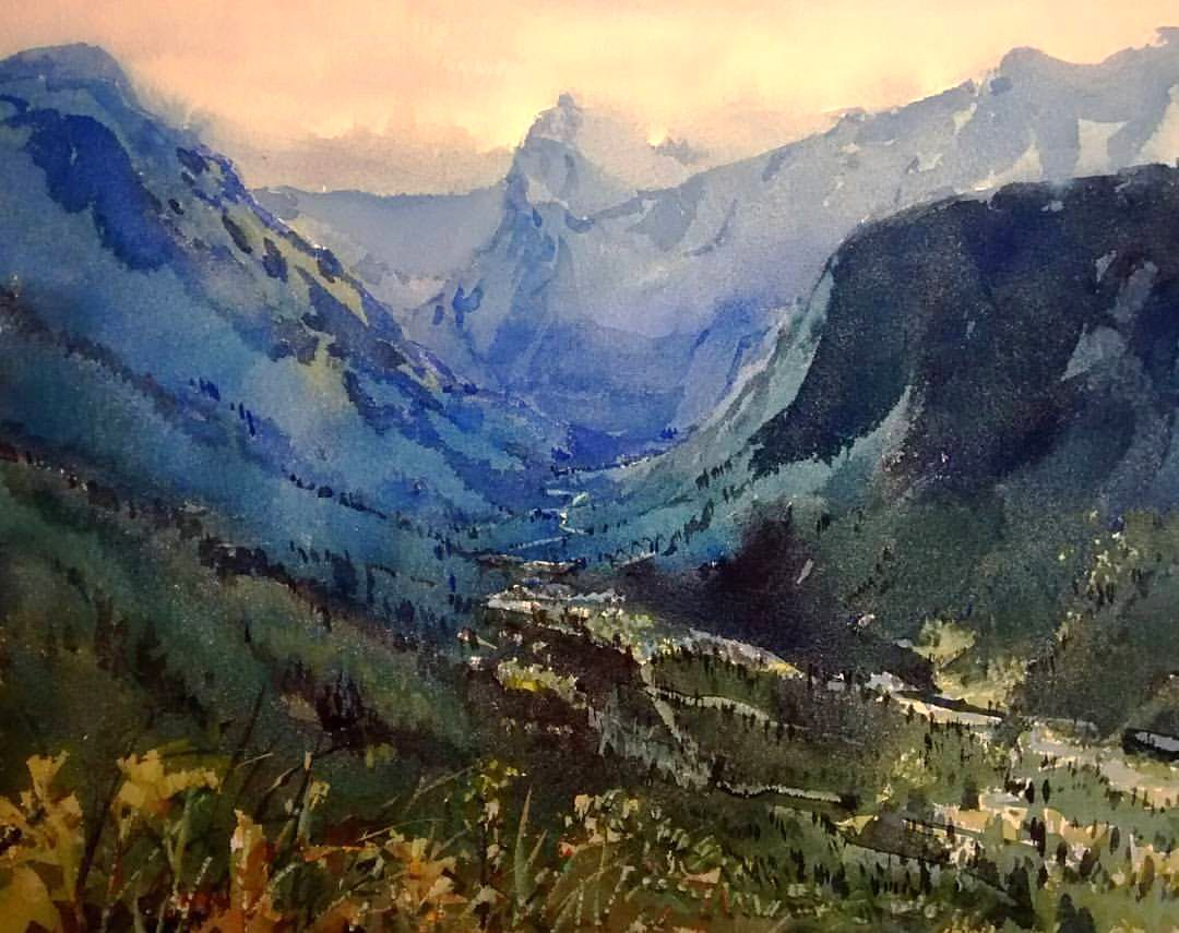 Yong Hong Zhong Glacier National Park Watercolor Landscape Art