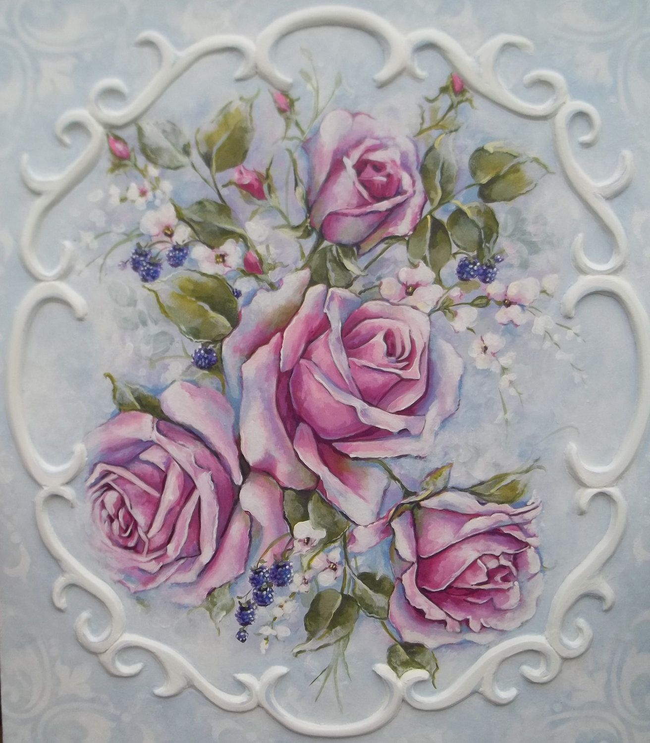 French decor rococo style romantic roses painting for Rococo decorative style