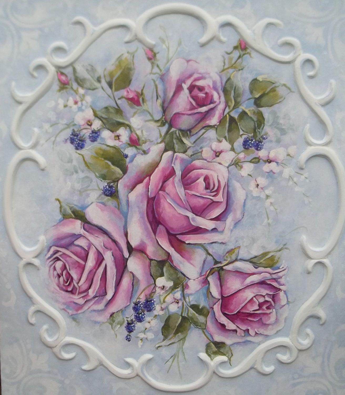 French decor rococo style romantic roses painting for Decoracion rococo