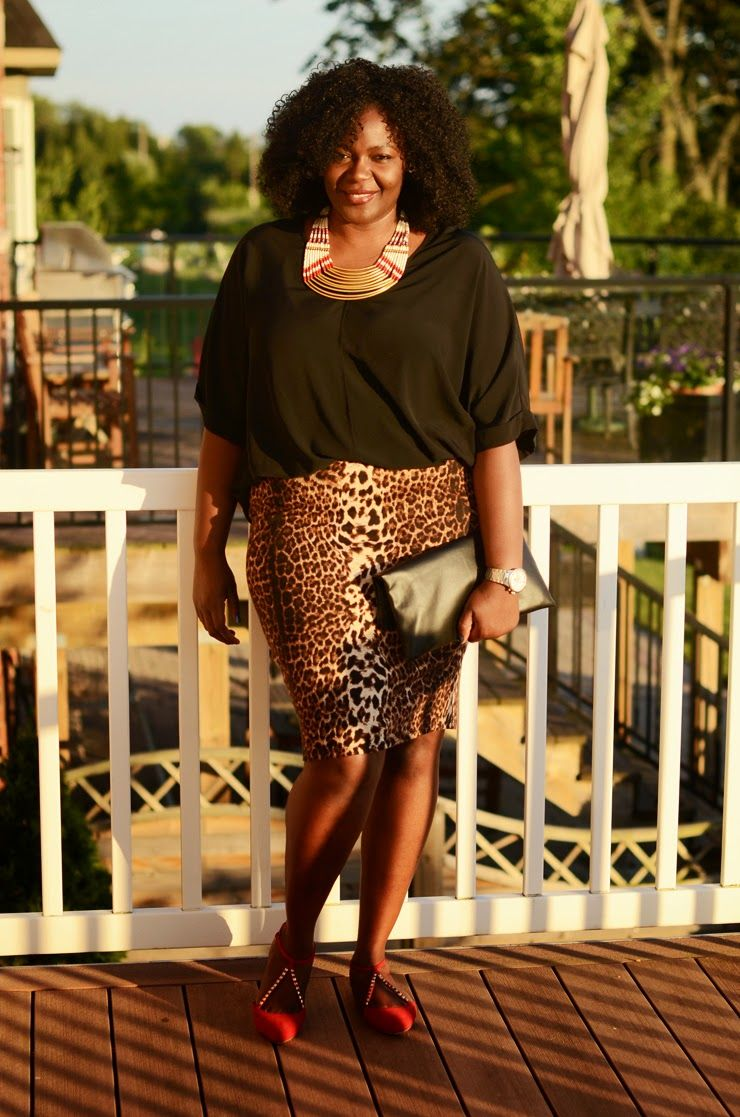 Plus size style inspiration Animal print skirt see outfit details at www.mycurvesandcurls.com