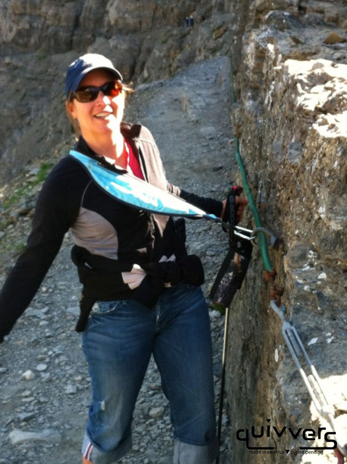 The Quivver saved my life :) Hiking the high line trial over the garden wall in Glacier National Park…with bear spray attached..HA! #quivvers #quivvering    - Jen Sato
