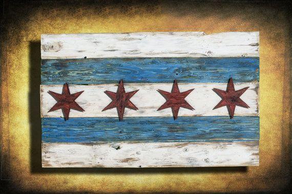 Distressed Wood Chicago Flag Chicago Flag Art Flag Art Wood Flag