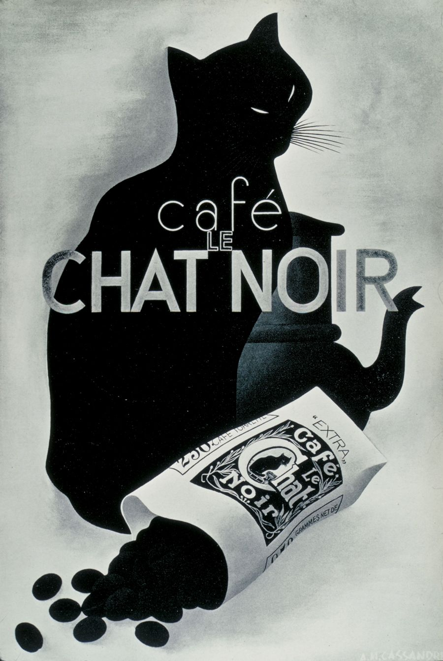 Café Le Chat Noir advertising poster by A.M. Cassandre, 1932 ...