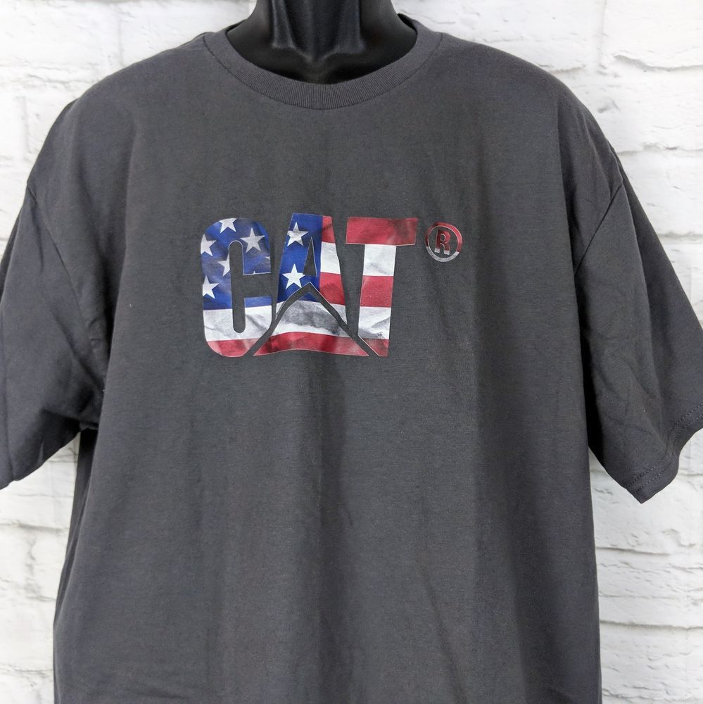 1934c8b79af Caterpillar T shirt Men XL CAT Graphic Logo tractor Tee Gray Stars Stripes  Logo  CAT  GraphicTee
