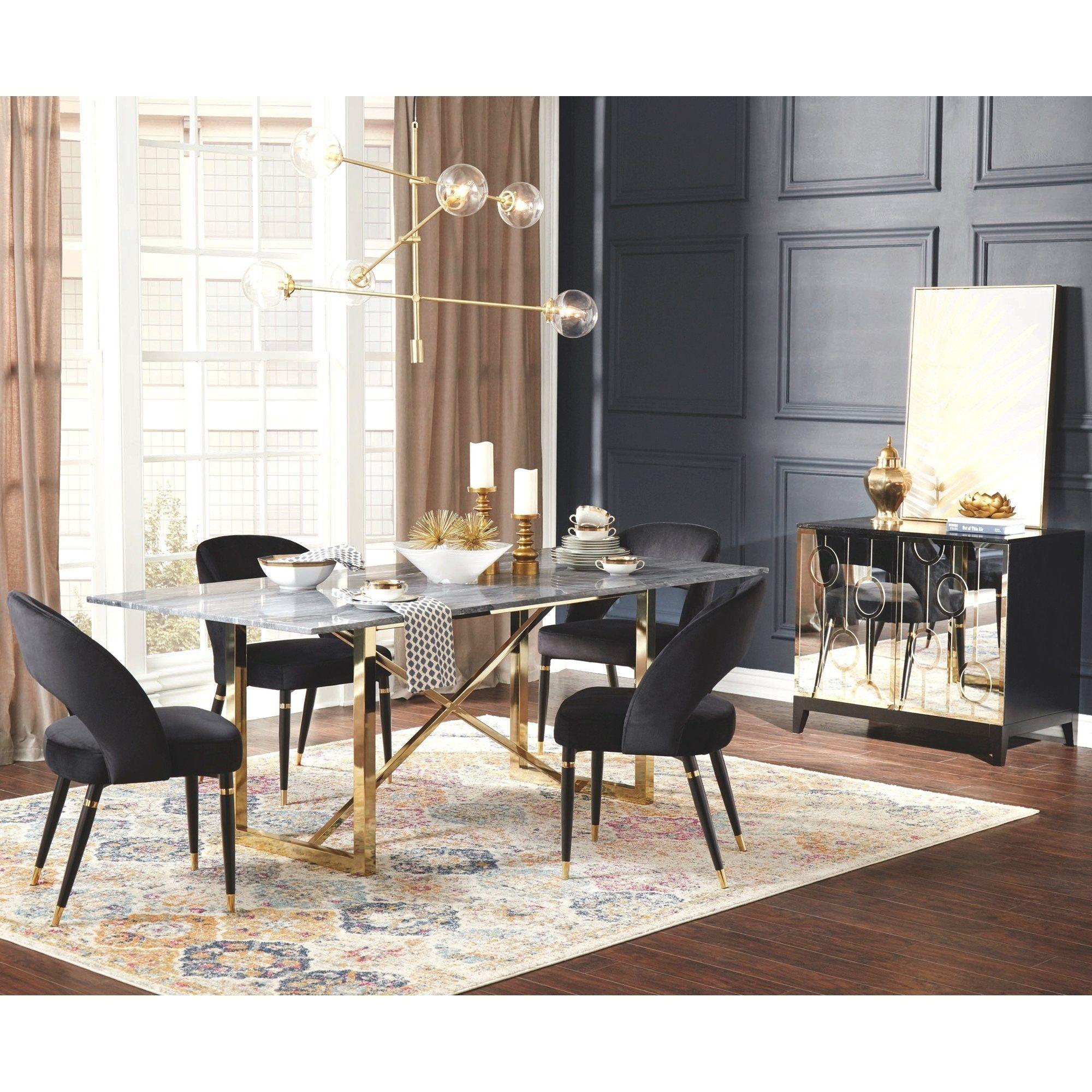 Modern Design Gold Frame Marble Top Dining Set And Server Marble