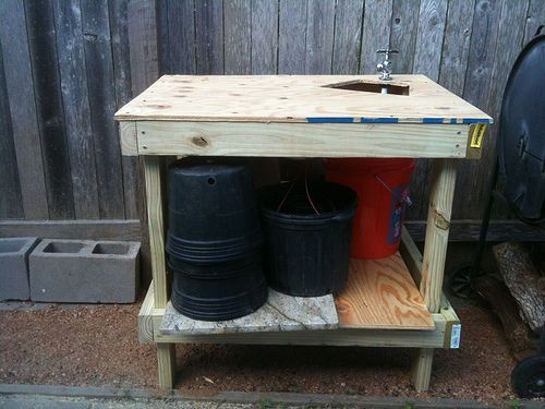 Garden Workbench With Grey Water Sink