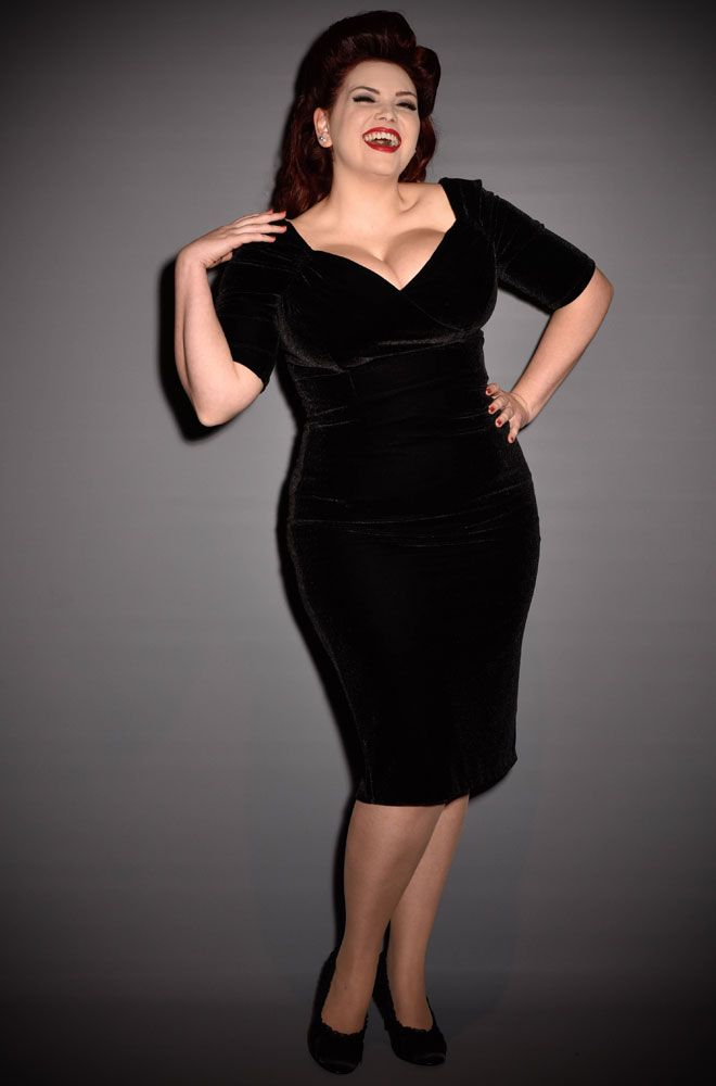 7af36979ea9 1950 s style black velvet Bardot off the shoulder Monte Carlo wiggle dress  by the Pretty Dress Company