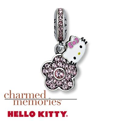 Charmed Memories Pink Flower Dangle Charm Sterling Silver Zn9edOv