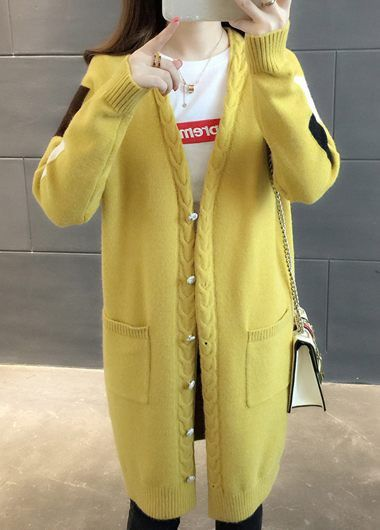 5ee5c469d5 Yellow Button Embellished Long Sleeve Cardigan