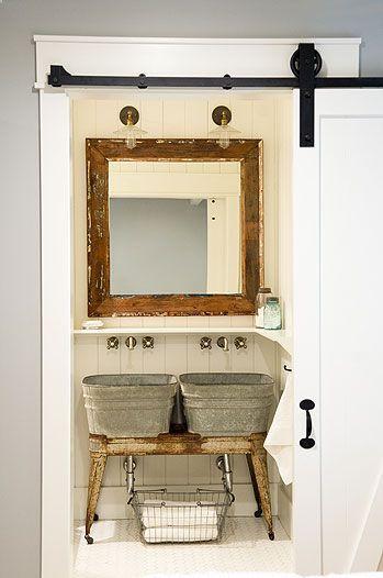 rustic kids bathroom decorating ideas   wash tub sink with industrial details. Kids bathroom in ...