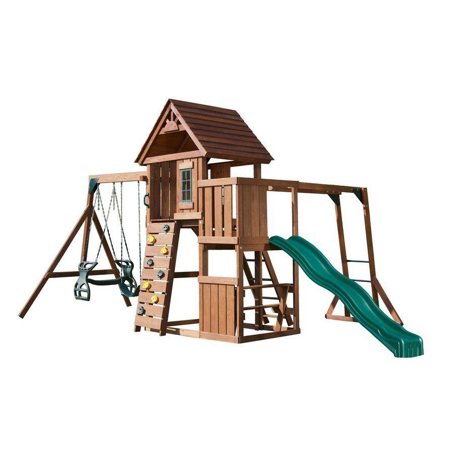 swing n slide cedarbrook deluxe wood playset with 3 swings