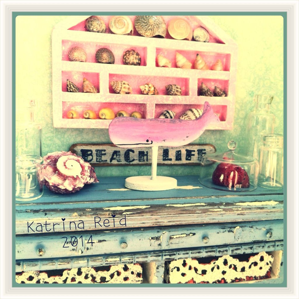 One of my favorite miniatures! Love my pink whale and the seashell shadow box:) Katiesclaycorner