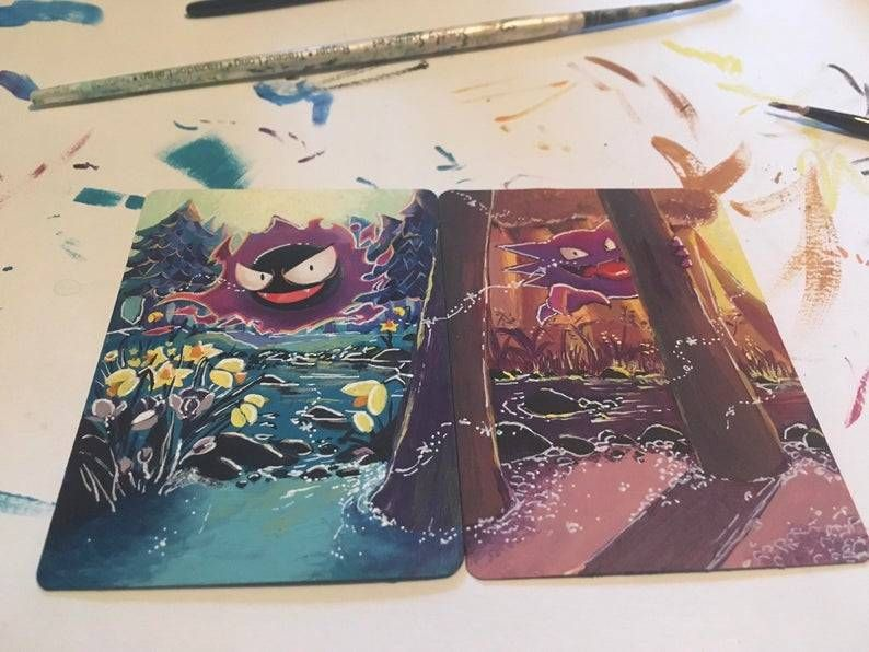 Hand-Painted Extended Art Pokemon Cards made by Jennifer Koon - #90s #anime #art #cards #cartoons #cool! #cute #dratini #games #gaming #gastly #geek #gifts #growlithe #haunter #illustration #japan #kawaii #merch #monsters #nineties #nintendo #nostalgia #nostalgic #painting #pocket #pokemon #retro #retrogaming #TCG #video