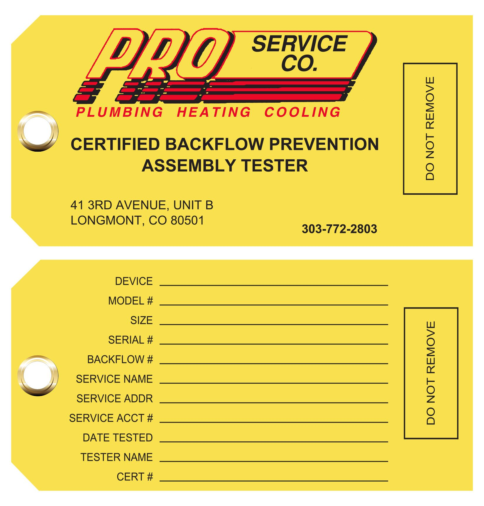 Backflow Prevention Tags All Sizes All Colors All Customized To