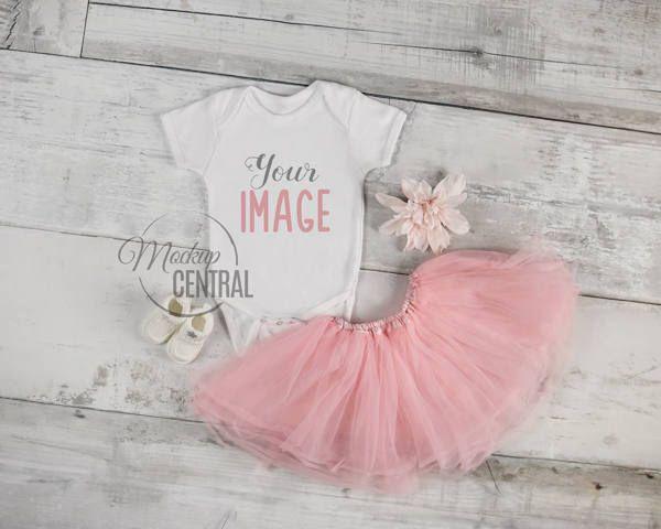 c07fdafe8 Blank White Baby Onesie Mockup, Fashion Design Styled Stock Photography,  Baby Mock up -