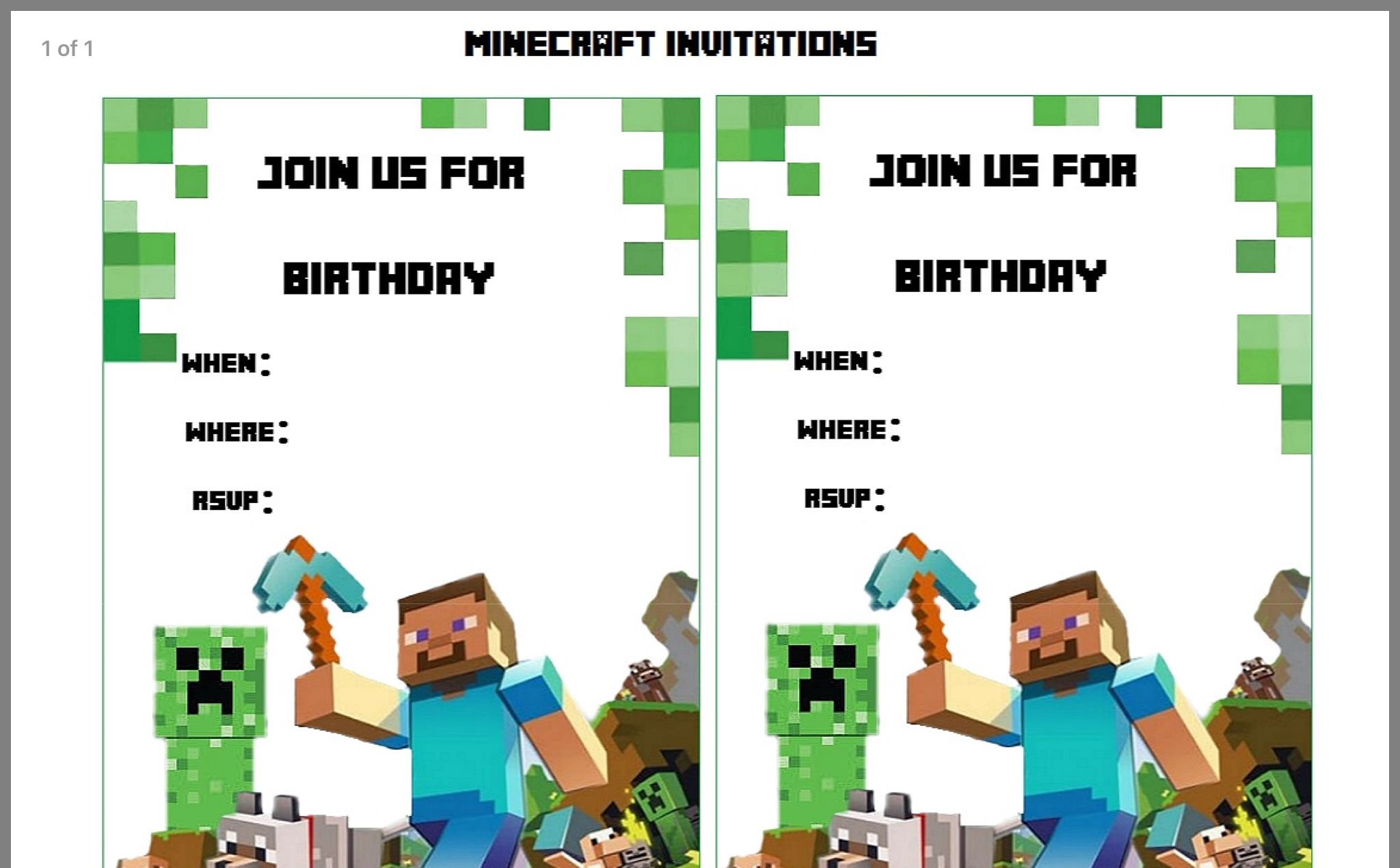 Pin By Holly Whiteaker On Holidays Minecraft Birthday Invitations Party Invite Template Minecraft Birthday