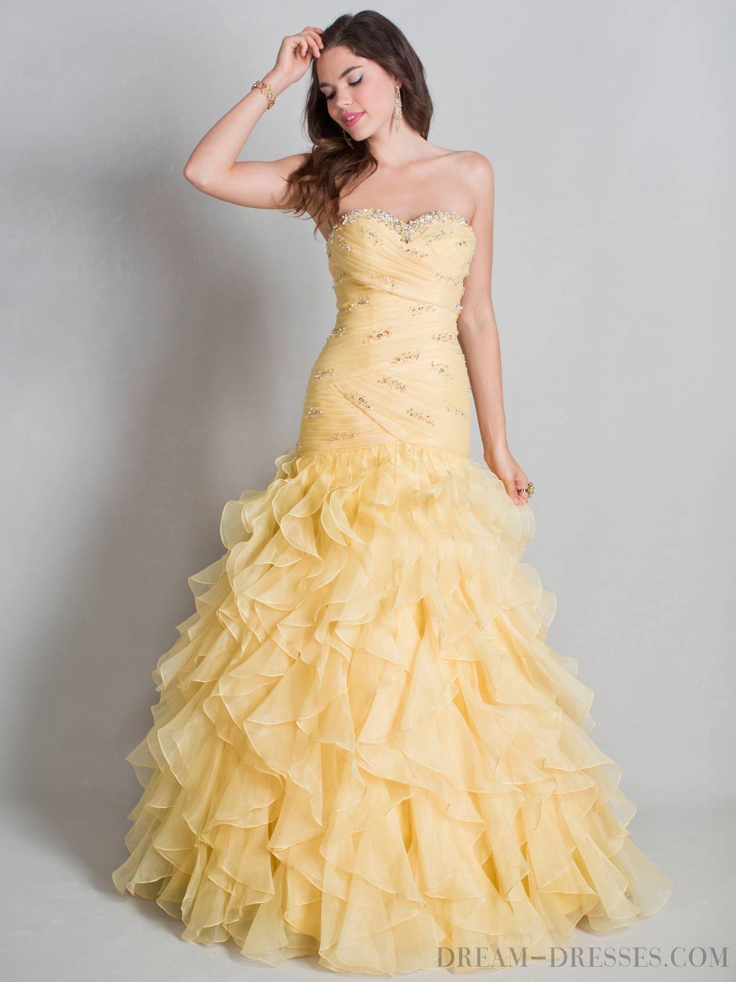 yellow trumpet mermaid prom dress