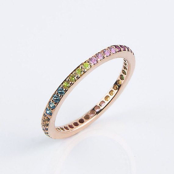 Multi-coloured band Solid gold band Eternity by elegantjewelbox