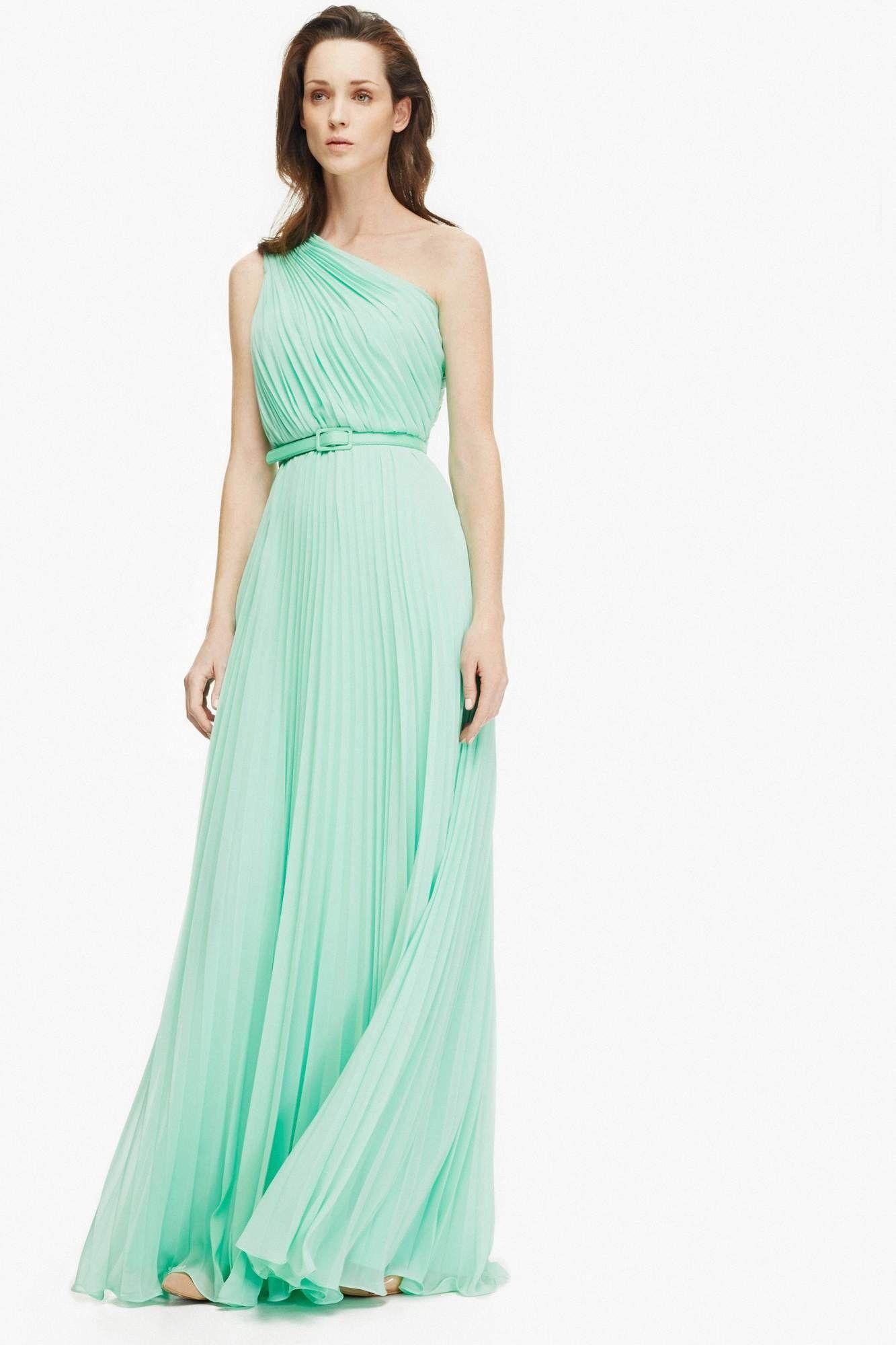 Maxi vestido plis de gasa con vuelo vestidos adolfo for Vestidos adolfo dominguez outlet online