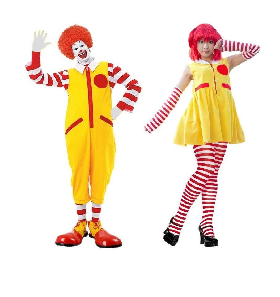 Mr or Mrs McDonald Clown Costume Couples Complete Fancy Dress ...