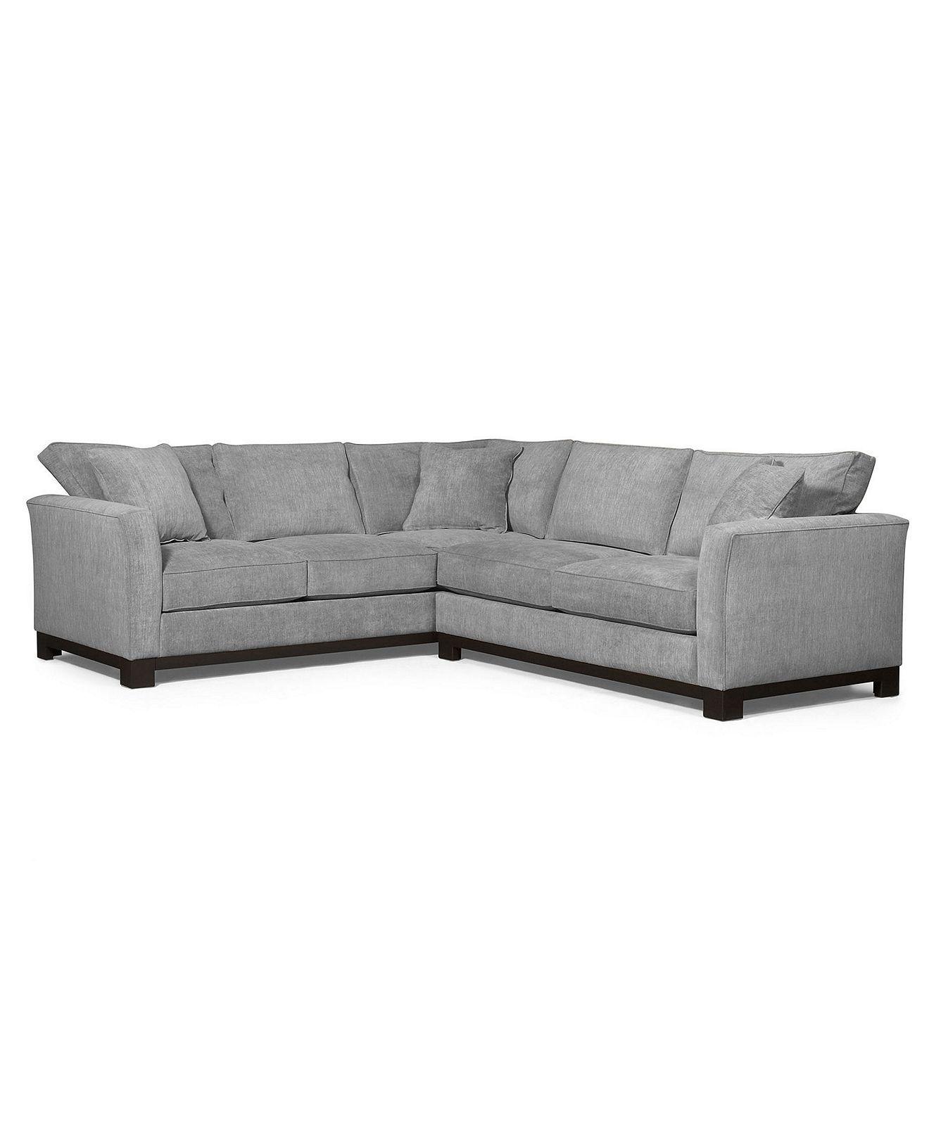 Macys Sectional Sofa Microfiber Danish Style Melbourne Kenton Fabric 2 Piece 107w X 94d 33h