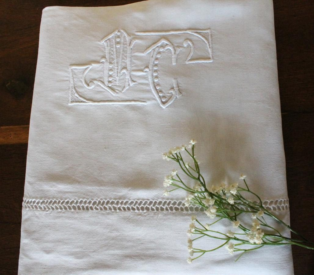 Pure Linen Sheet Vintage French, Monogrammed 'MC' - Circa 1900 / 1910's (used). £35.00, via Etsy.