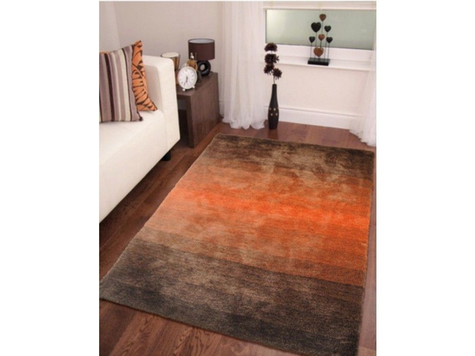Tapis shaggy FUEGO chocolat et orange - polyester - 140*200 ...