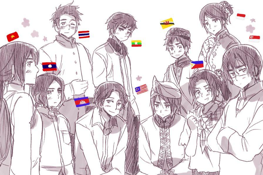 ASEAN by Rosel D (Dengan gambar) Sketsa, Seni, Hetalia