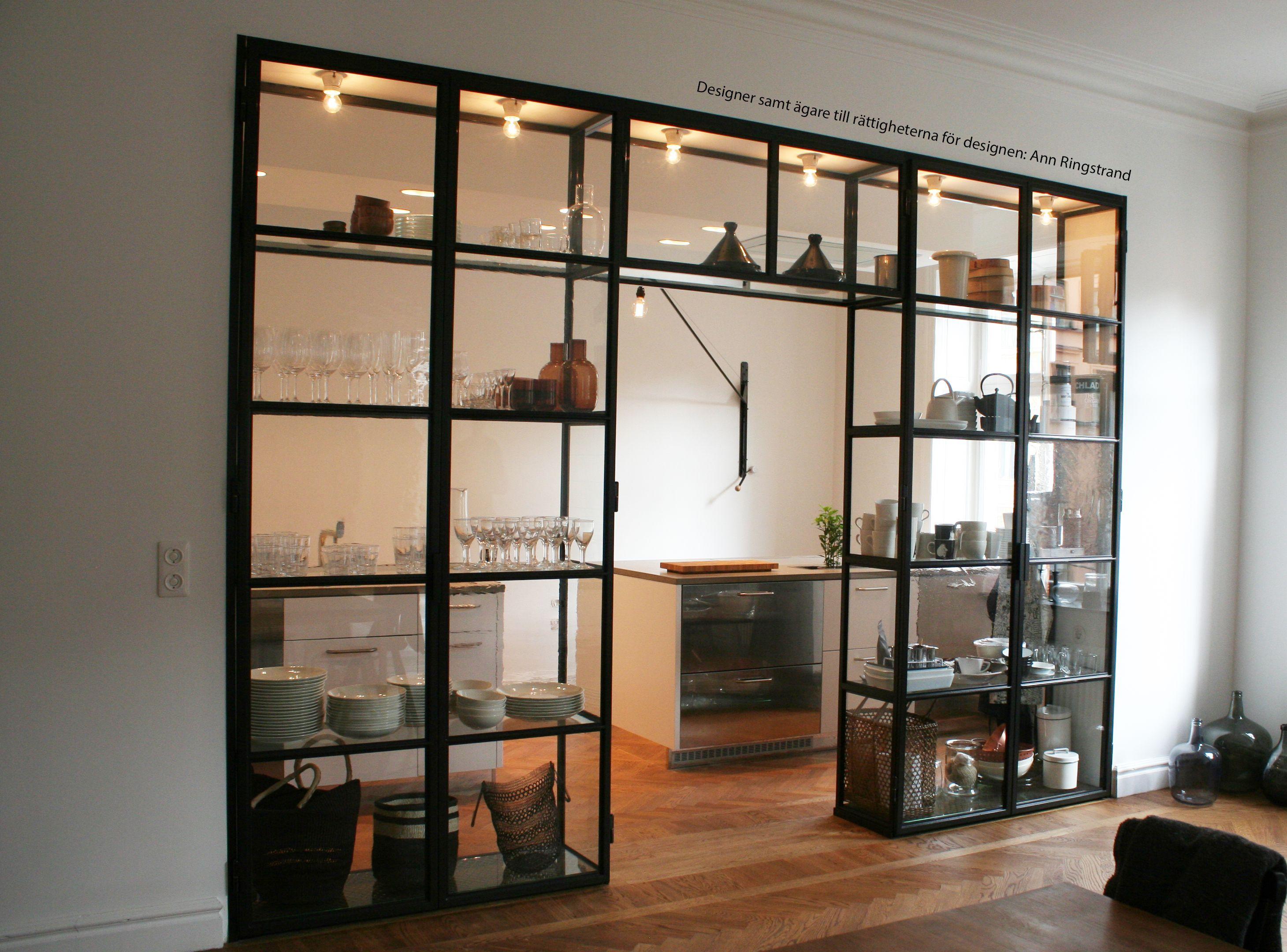 Custom kitchen glass cabinet vasastanstockholm glassshelves hus
