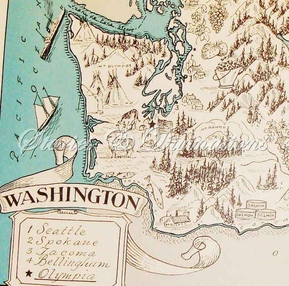 Washington State Vintage Map Aqua Cottage Chic A Fun and Funky
