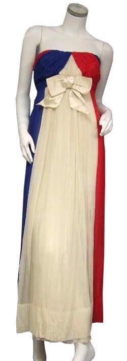 Gorgeous Gathered 60s Style Patriotic Gown