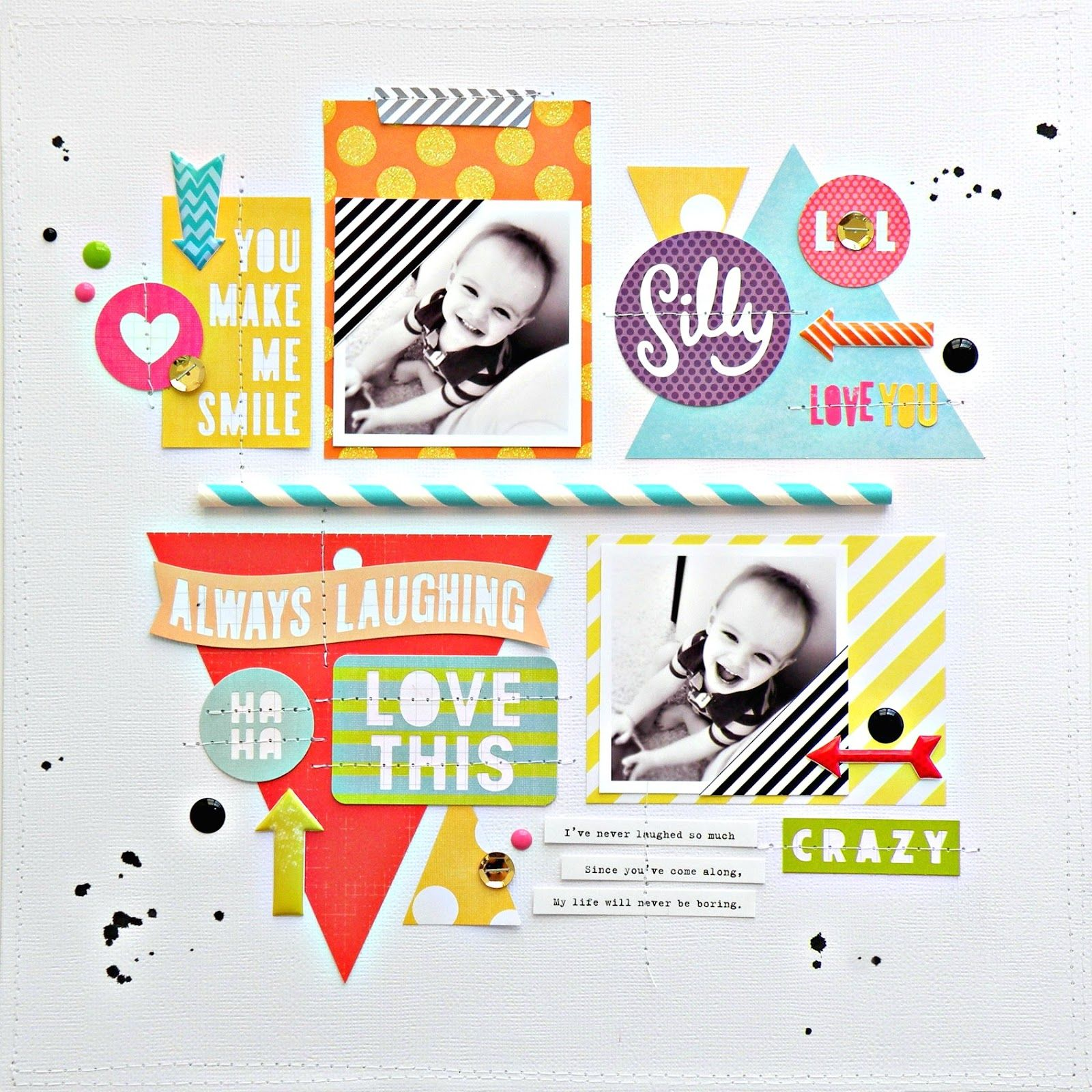 papercraft scrapbook layout My Bits of Sunshine Mambi Die Cut