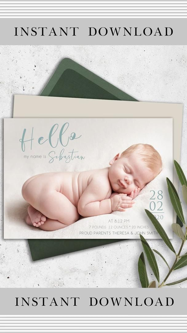Custom Baby Birth Announcement Template Card Template With Photo Personalized Baby Card Custom Newborn Baby Card Video Video Baby Announcement Cards Baby Announcement Birth Announcement Template