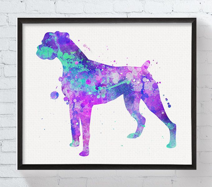 Boxer Dog Art, Boxer Dog Print, Watercolor Boxer Dog, Boxer Dog Wall ...