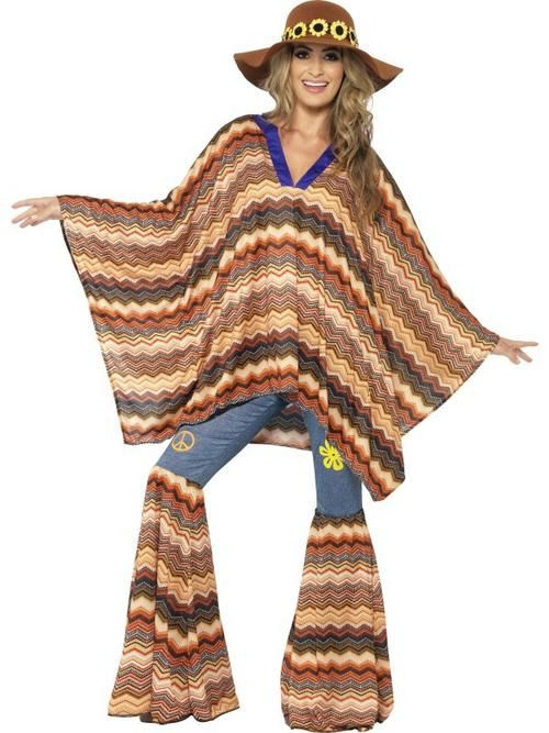 Adult Karma Kaftan Fancy Dress Costume 60s 70s Hippy Flower Power ...