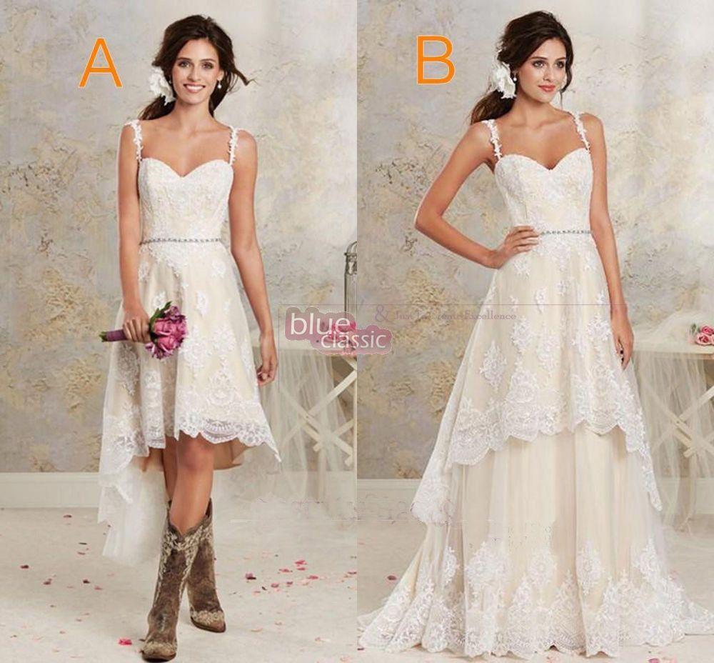 New Two Styles Country Wedding Dresses Hi-Lo RobeGarden Detachable ...