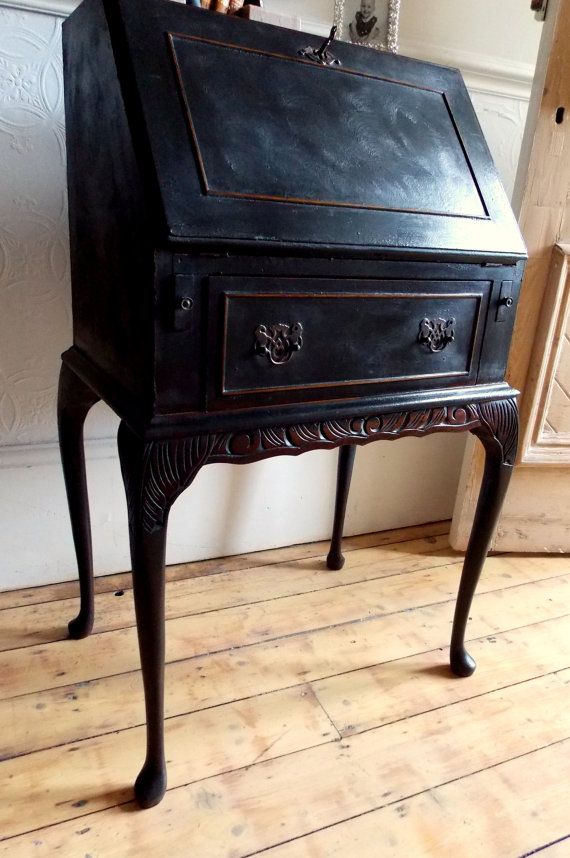 small french style vintage ladies bureau writing desk with carving detail and cabriole legs and a single drawer with ornate brass handles this