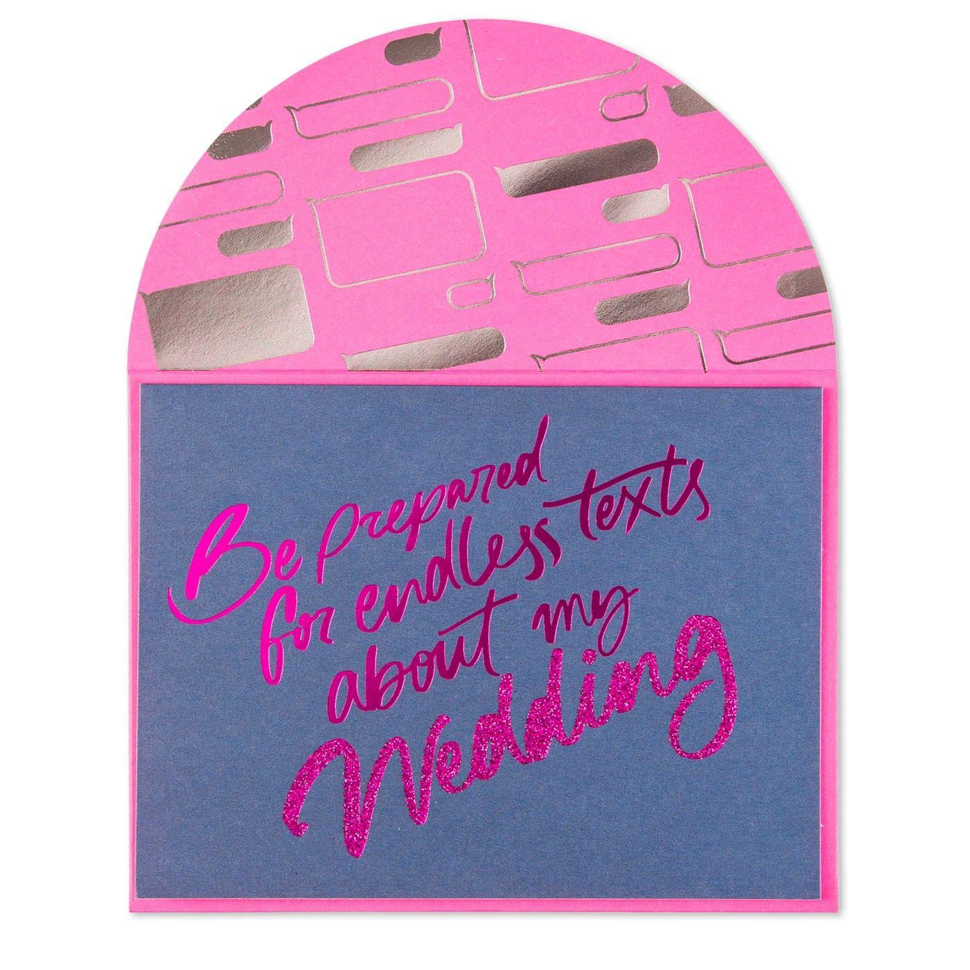 Endless Texts Bridesmaid Wedding Card Wedding Card Texts And Weddings